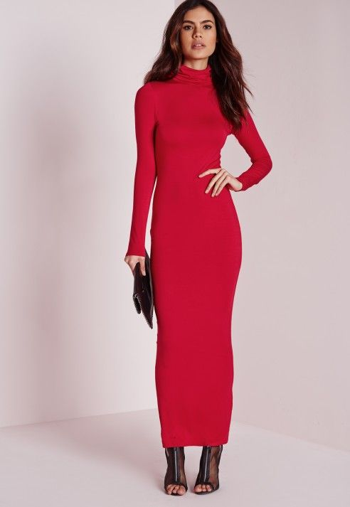 17fb1421e5 Roll Neck Long Sleeve Bodycon Maxi Red - Dresses - Maxi Dresses – Day  Dresses - Missguided