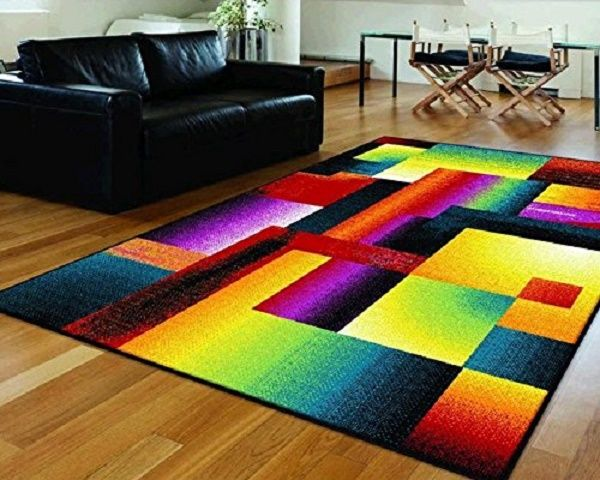 a bright multi colored area rug funky area rugs pinterest bright and spaces. Black Bedroom Furniture Sets. Home Design Ideas