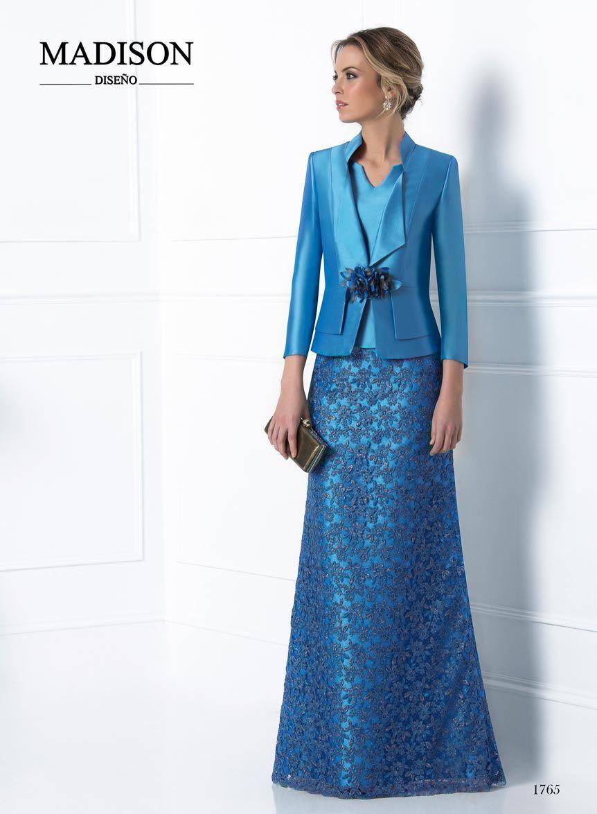 vestido de fiesta largo con chaqueta color azul | Vestidos ...