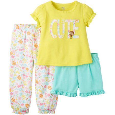 114cfe2e87e9 Child of Mine by Carter s Baby Toddler Girl 3 Piece Pajama Set ...