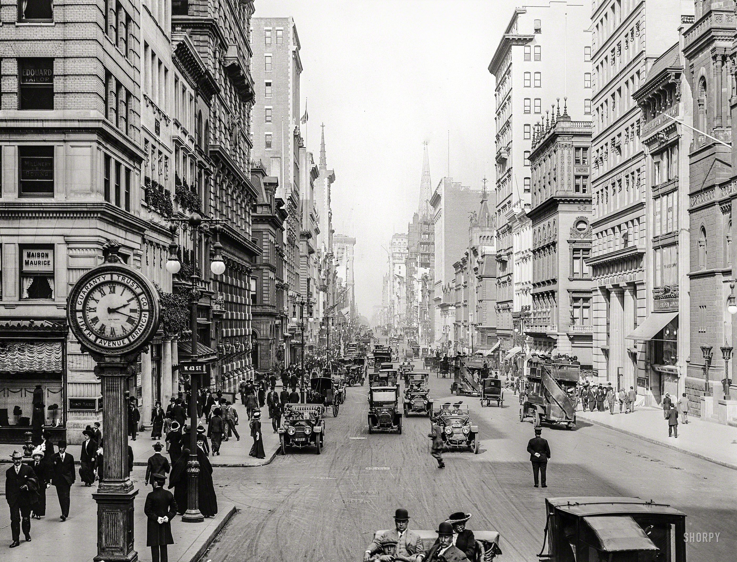 New York Circa 1911 Fifth Avenue At West 43rd Street Shorpy Historic Picture Archive New York Street New York City Historical Places Usa