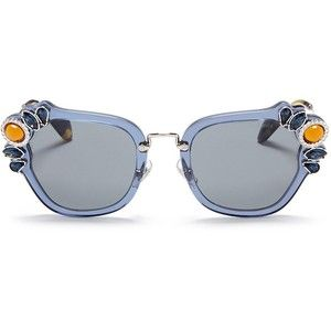 66294a8486dee Miu Miu  Catwalk  jewelled acetate and metal square sunglasses ...
