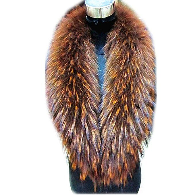 62e24a2e9 Gegefur Large Long Detachable Natural raccoon Fur Collar for Winter at Amazon  Women's Clothing store: