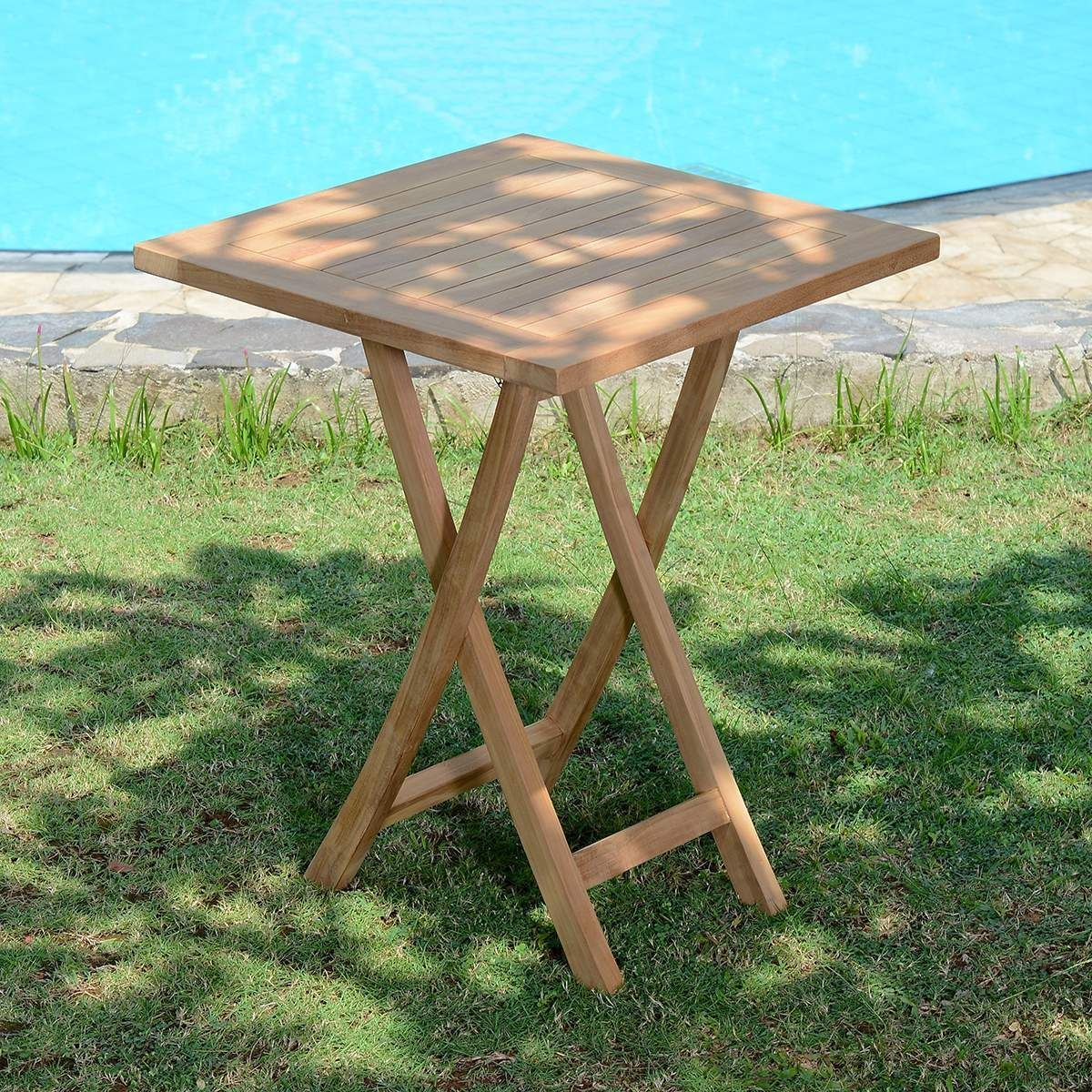 Table de jardin en Teck Pliable 60 x 60 cm - Bistrot ...