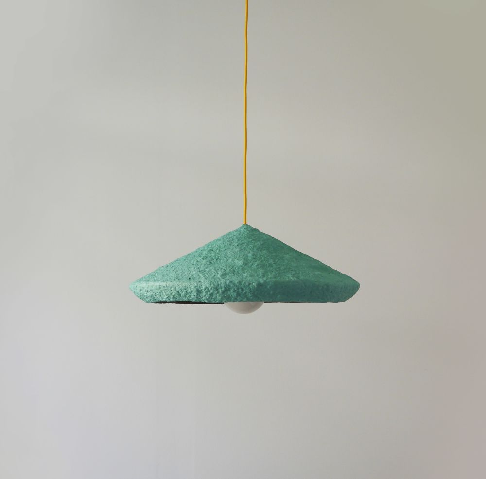 Paper pulp pendant lamp Mizuko Green | Paper mache, Pendant lamps ...