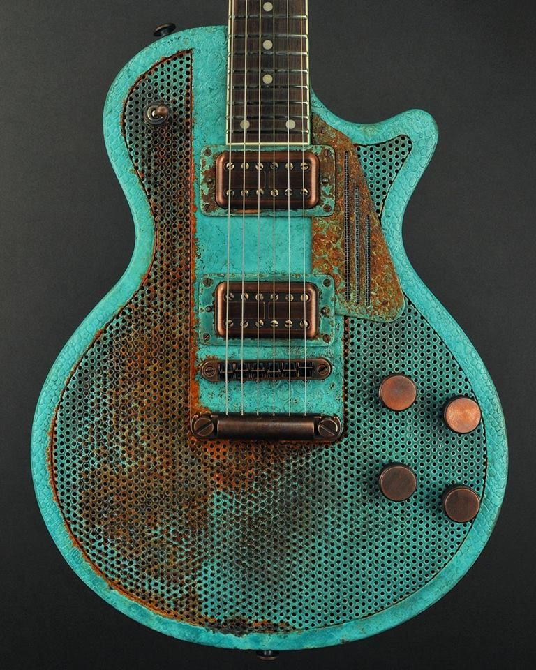 James Trussart Guitars Titanic Green Holey SteelDeville. perforated ...