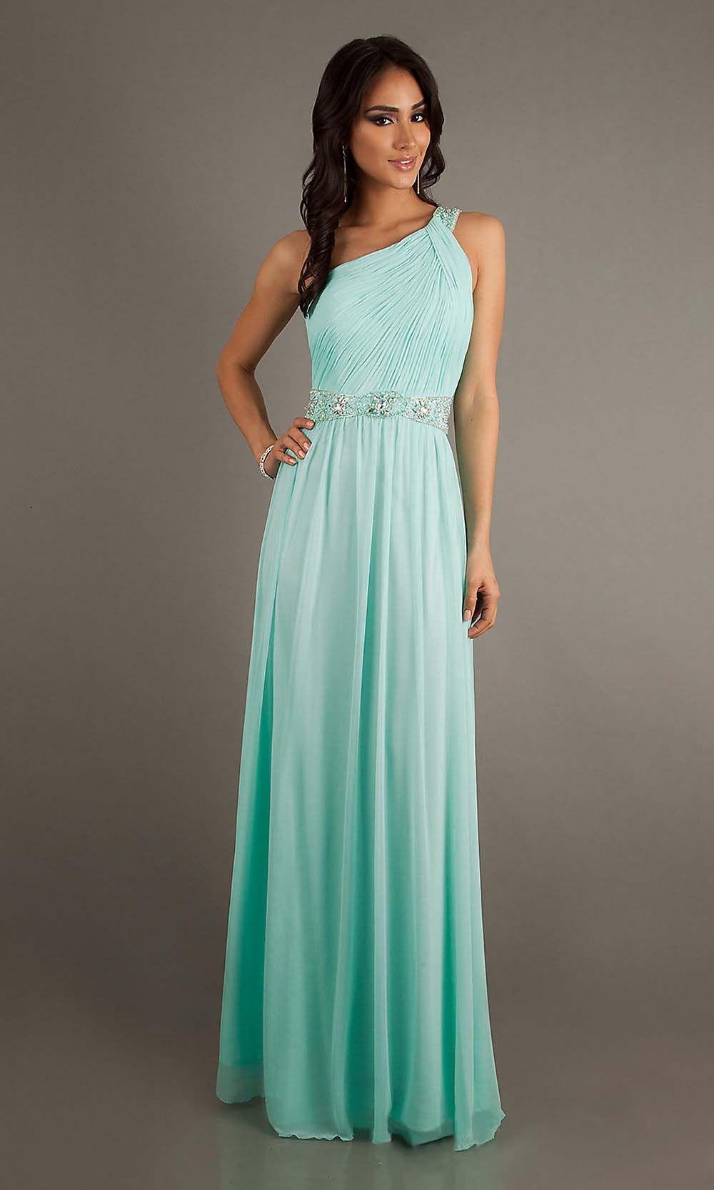 green prom dress, one shoulder prom dresses, chiffon prom dress ...