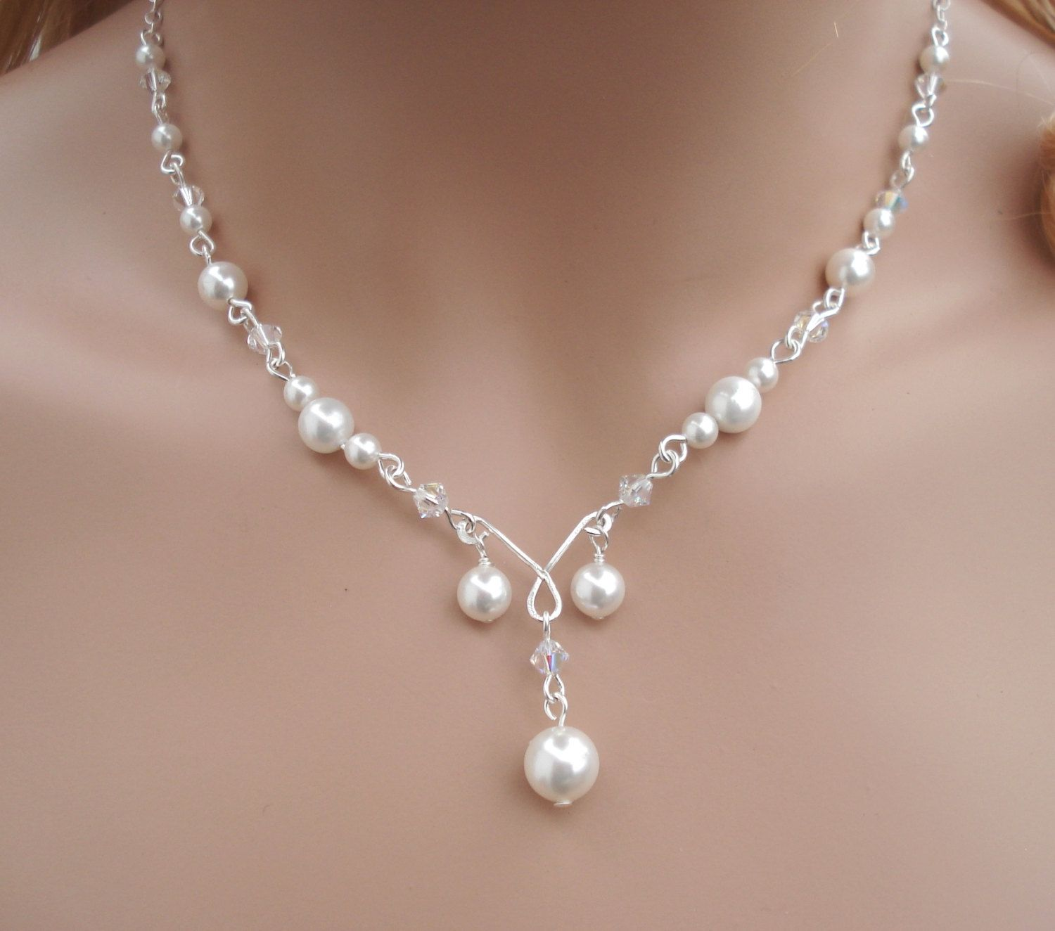 Elegant Bridal Jewelry Set Wired Crystal Pearl Necklace