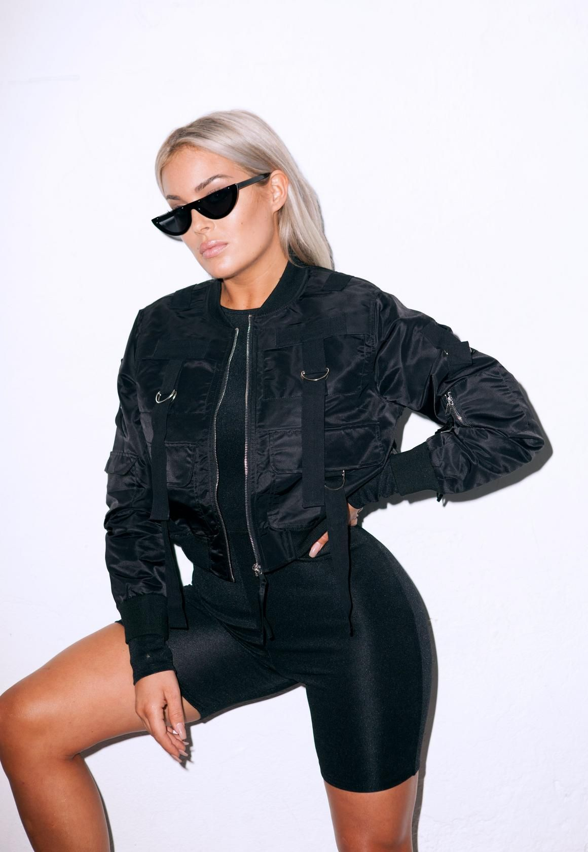fdb3b5074fe Fanny Lyckman x Missguided Black Cropped Bomber Jacket | Missguided ...