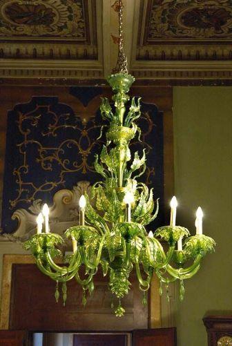 Antico lampadario-Verde e Oro- Murano