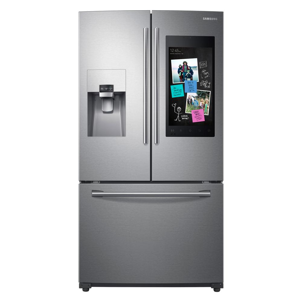 Samsung 24 2 Cu Ft Family Hub French Door Smart Refrigerator In Stainless Steel Rf265beaesr The Home Depot Samsung Family Hub Samsung French Door Samsung Refrigerator French Door