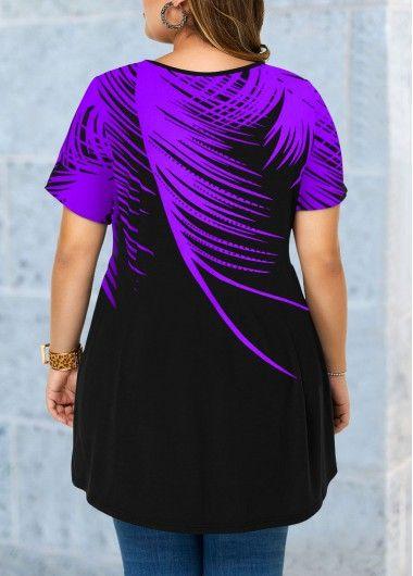 Lattice Front Plus Size Feather Print Blouse | modlily.com - USD $25.34 11