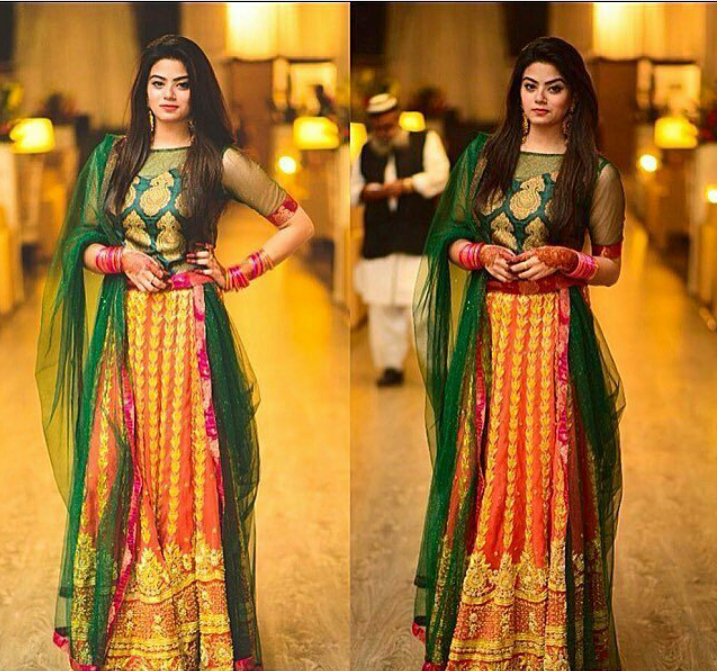 Mehndi Party Clothes : Latest pakistani dresses and frocks for wedding