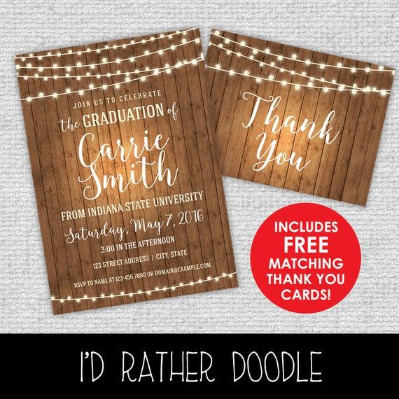 Rustic Graduation Invitation - Lights and Wood Invitation - FREE Matching Thank You Cards - High Sch #businessthankyoucards
