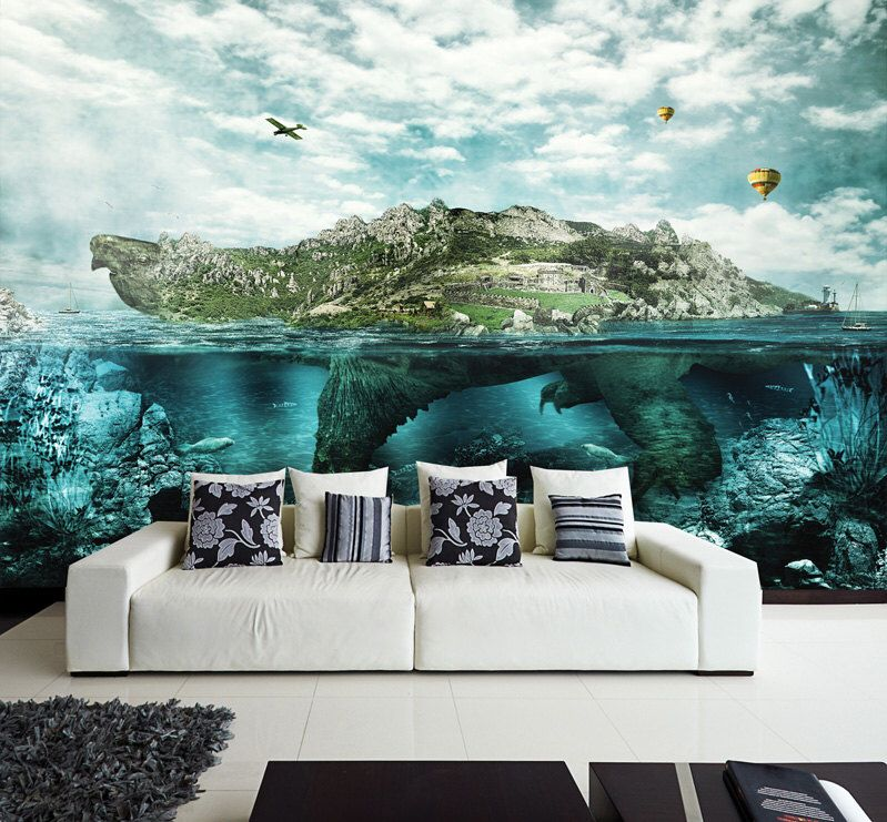 Wall Mural Turtle Island Wall Paper Self Adhesive Wall Covering Peel And Stick Repositionable Wallpaper Wall Murals Mural Home And Living