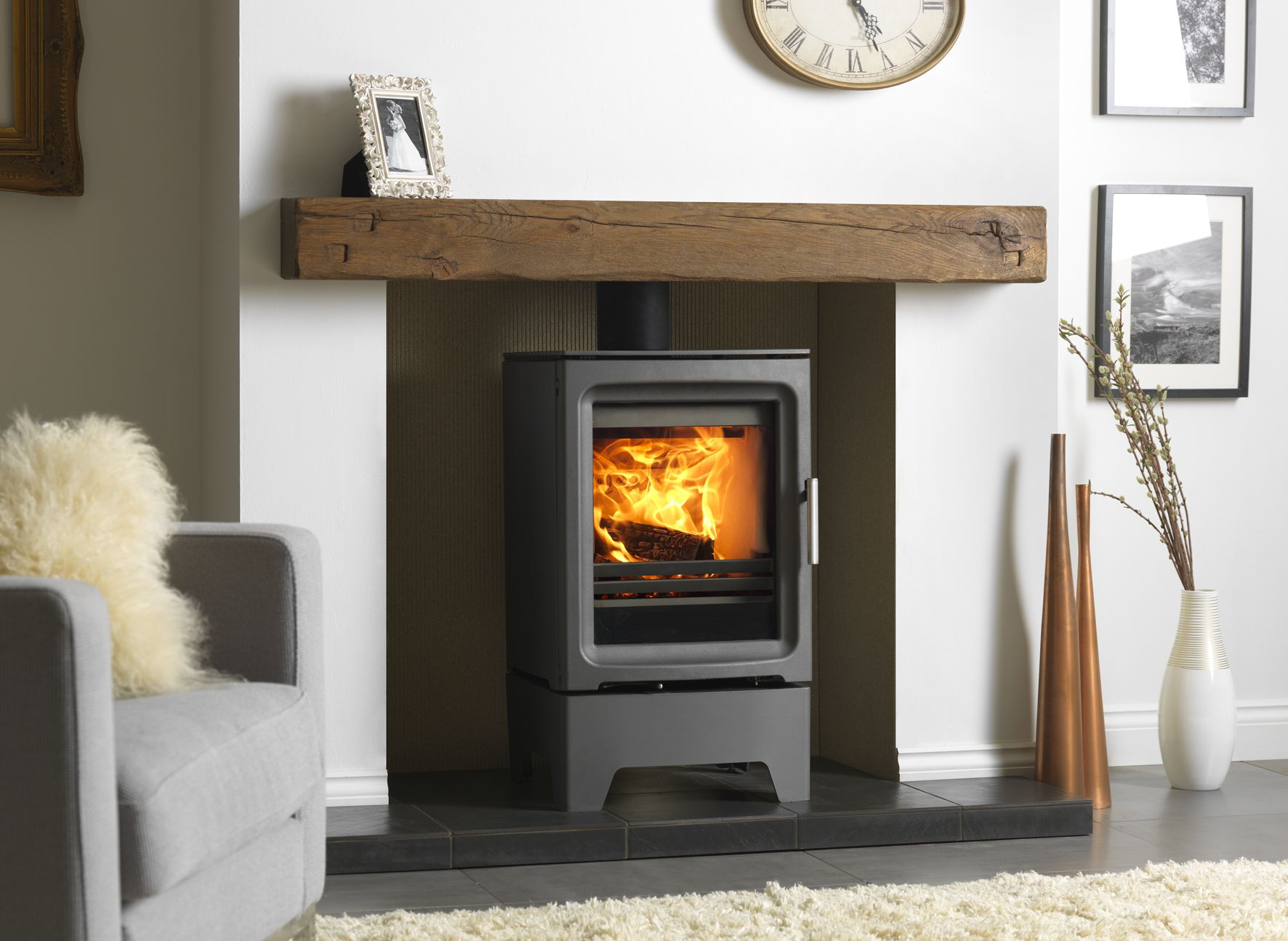 The purevison hd kw stove on tall stand shown in and inglenook