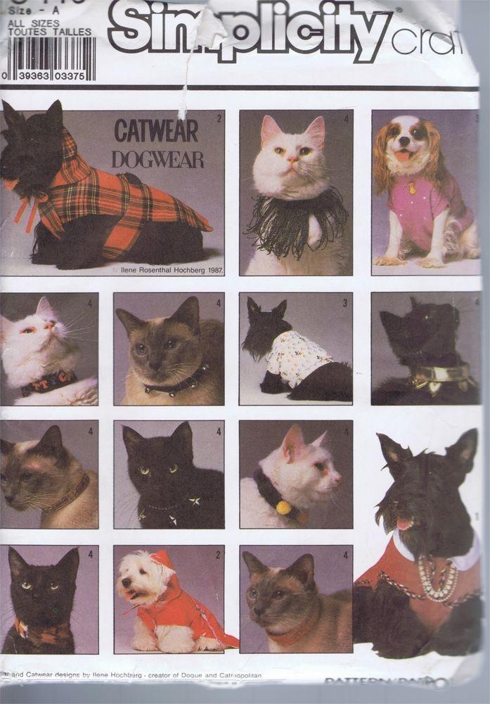 Dog Cat Wear Raincoat Collars T Shirts Hats SEWING PATTERN 8416 ...