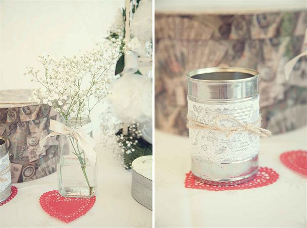 Upcycled table decorations with baby's breath flowers and recycled jars