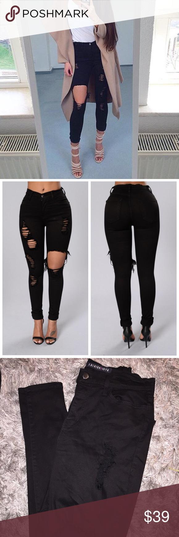e0d41a463cf Fashion Nova Black Glistening Jeans Fashion Nova Black Glistening Skinny  Jeans Size 11 (29)/distressed design/worn once new condition!