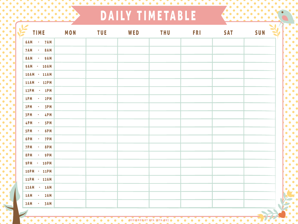 Monthly Work Schedule Time Table Template Word