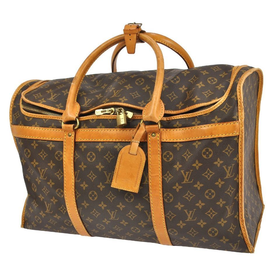 AUTH LOUIS VUITTON SAC CHIEN 55 DOG CARRY HAND BAG MONOGRAM