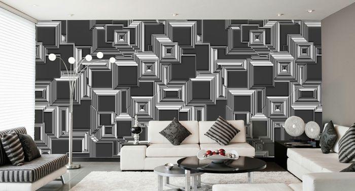 wandgestaltung schwarz weiß wohnzimmer einrichten tapetenmuster ...