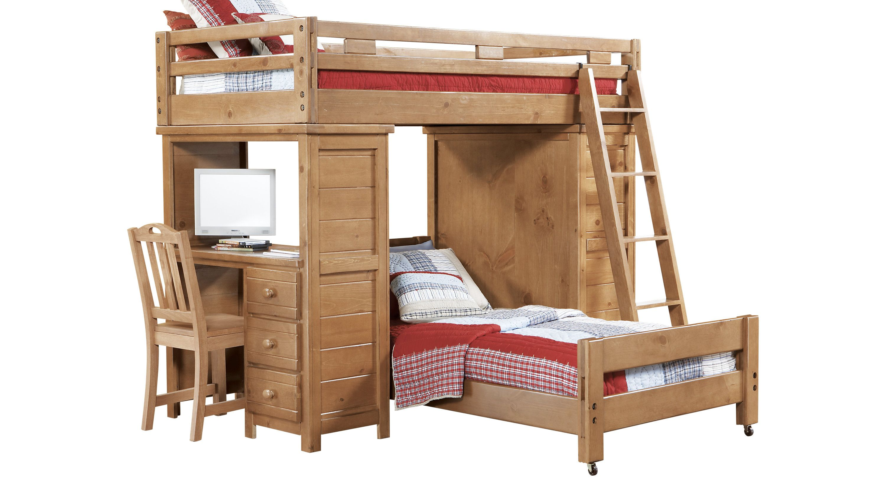 Bunk Bedroom Sets Rooms To Go Creekside Taffy Twin Twin Student Loft Bed W Desk With Chest 3619206p Bunk Bed Designs Bunk Bed With Desk Childrens Loft Beds