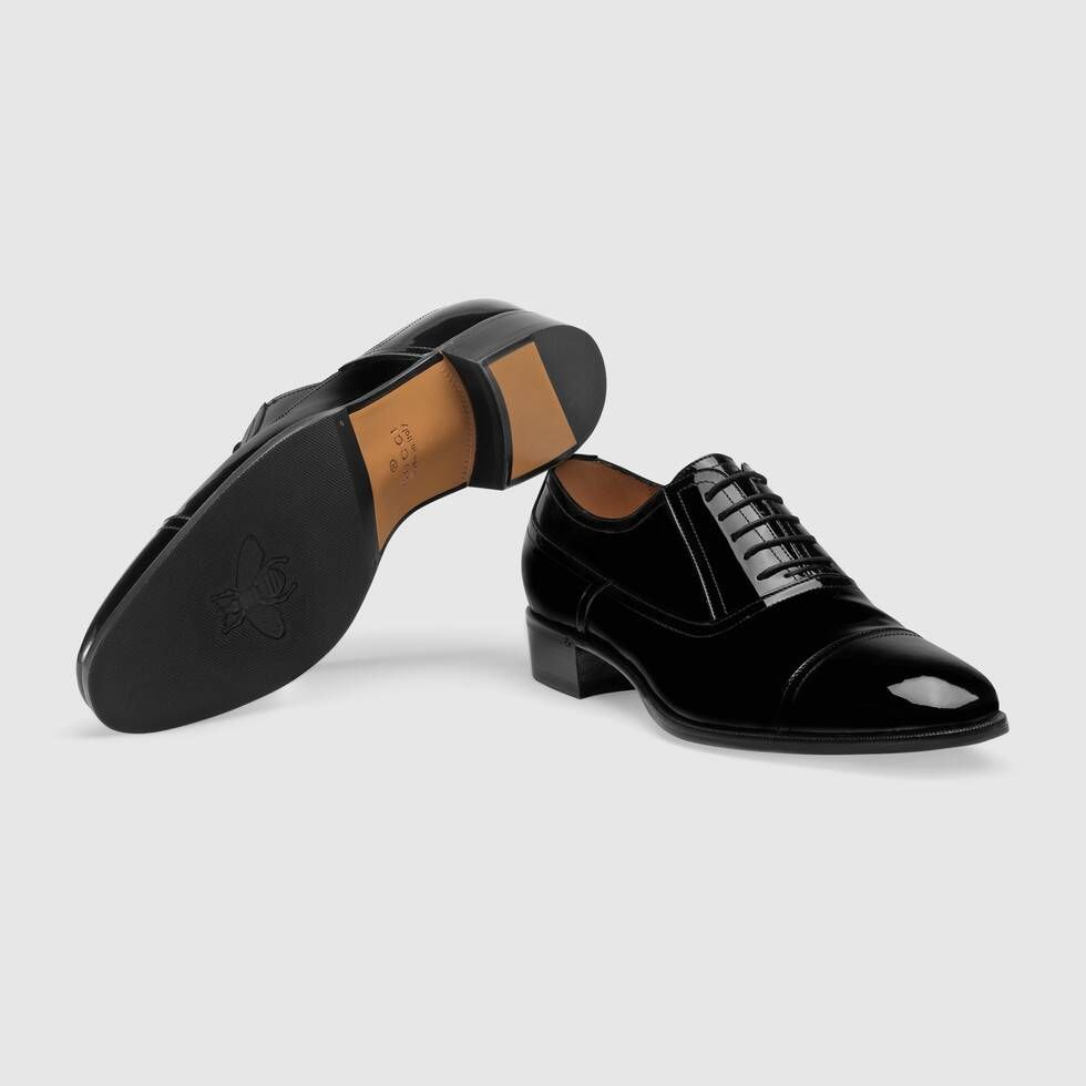 Shop The Patent Leather Lace Up Shoe In Black At Gucci Com Enjoy Free Shipping And Complimentary Gift Wrapping Black Shoes Men Dress Shoes Men Shoes Mens [ 980 x 980 Pixel ]