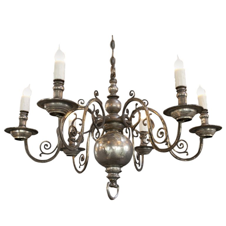 Nickel-Plated Flemish Style Six Arm Chandelier - Nickel-Plated Flemish Style Six Arm Chandelier Chandeliers