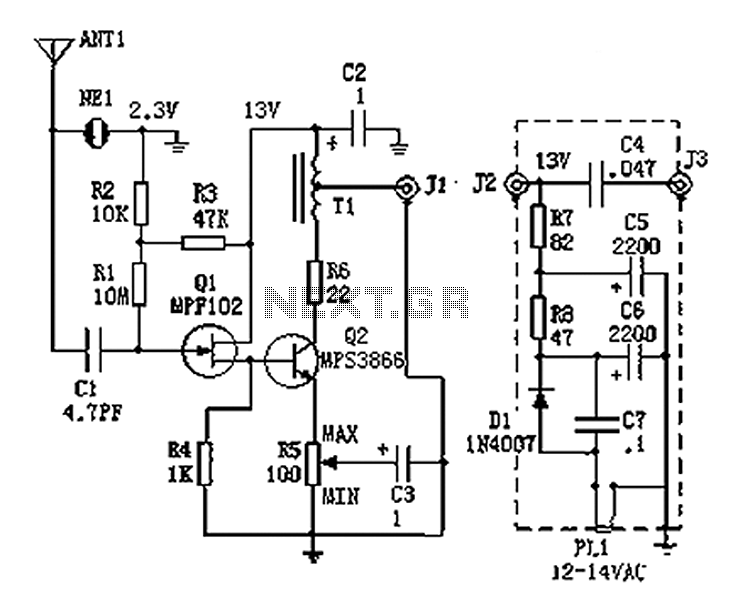 100kHz-30MHz active antenna circuit diagram in 2020