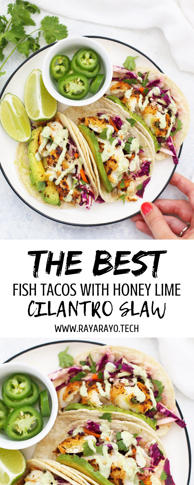 (THE BEST) FISH TACOS WITH HONEY LIME CILANTRO SLAW #cilantrolimeslaw