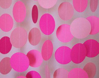 PINK Birthday Party Decorations Pink Paper Garland Girls Birthday