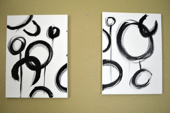 Black & Silver - Abstract Minimalist Geometric Circles on White 12\