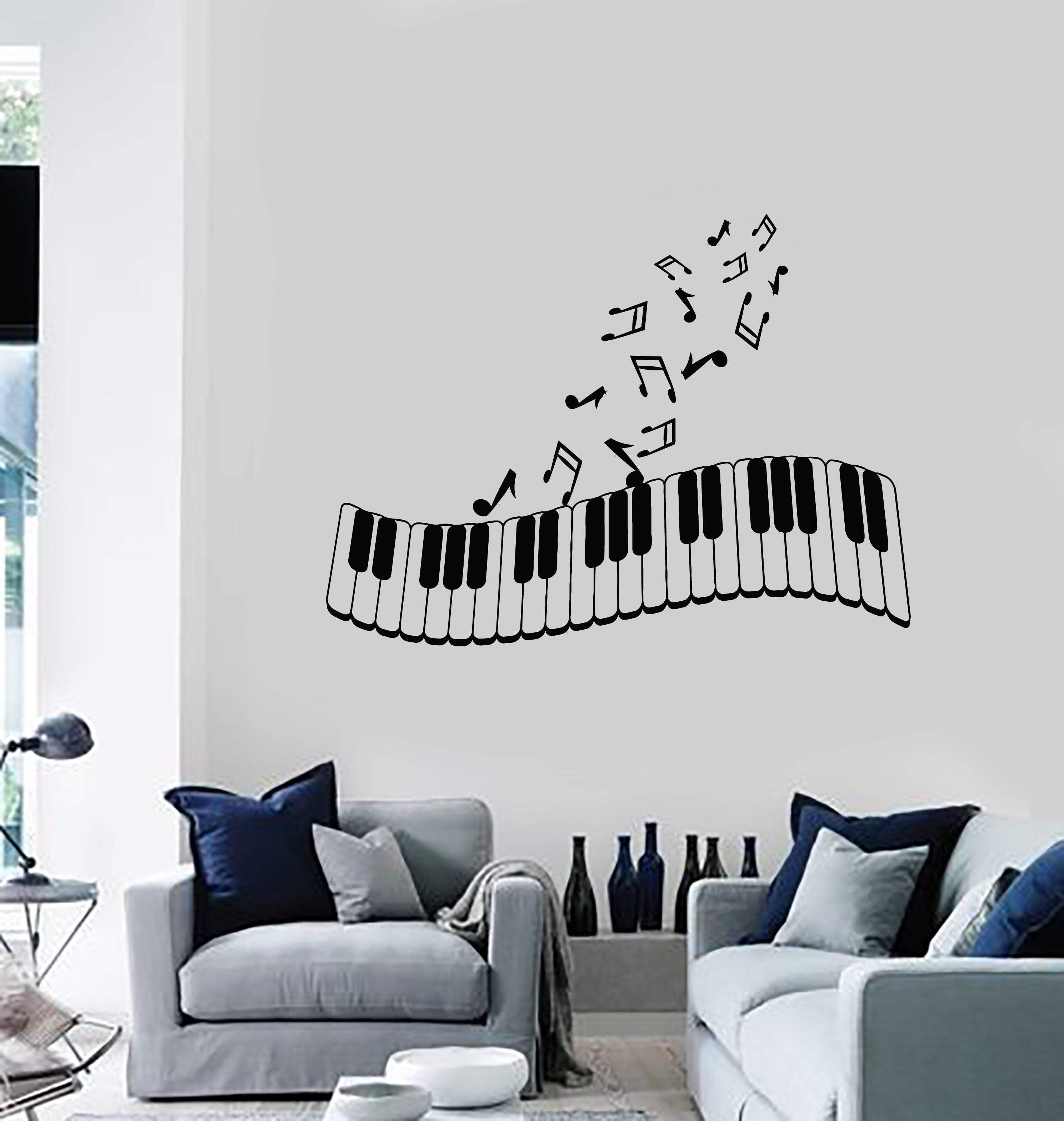 Vinyl Wall Decal Piano Musical Notes Music Art Living Room Decor
