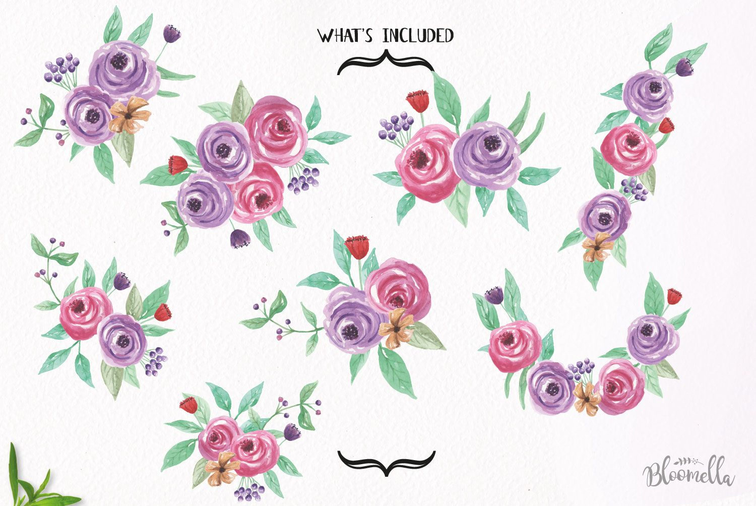 Watercolor Summer Dance Clipart Bouquets Flowers Purple ...