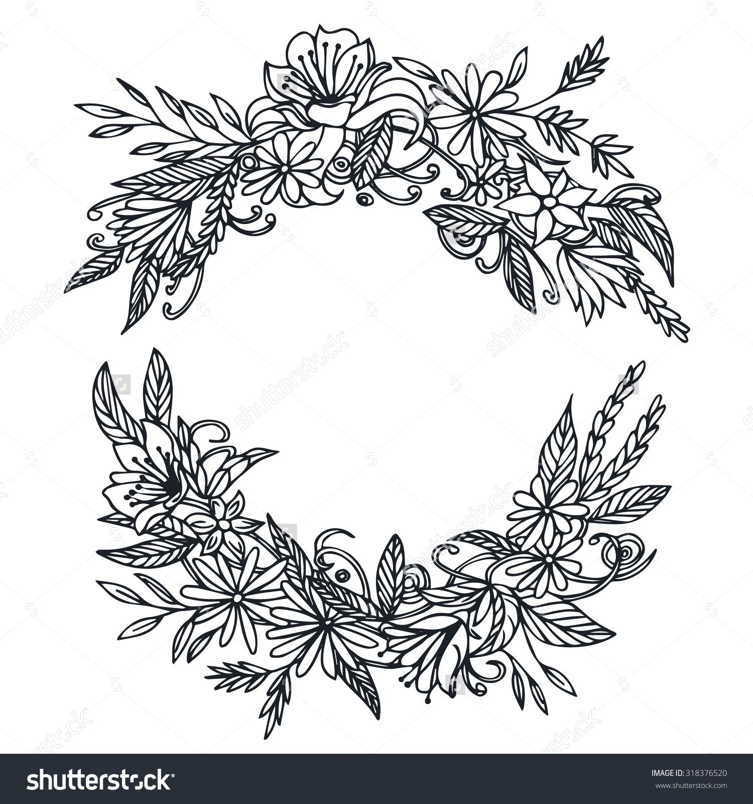 Vector Vintage Round Frame With Flowers. Floral Wreath