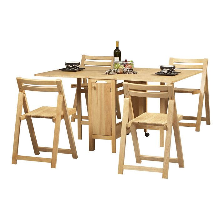 Spacesaving Dining Set Comes Complete With 4 Foldaway Chairs Classy Dining Room Table Sets For Small Spaces Inspiration Design
