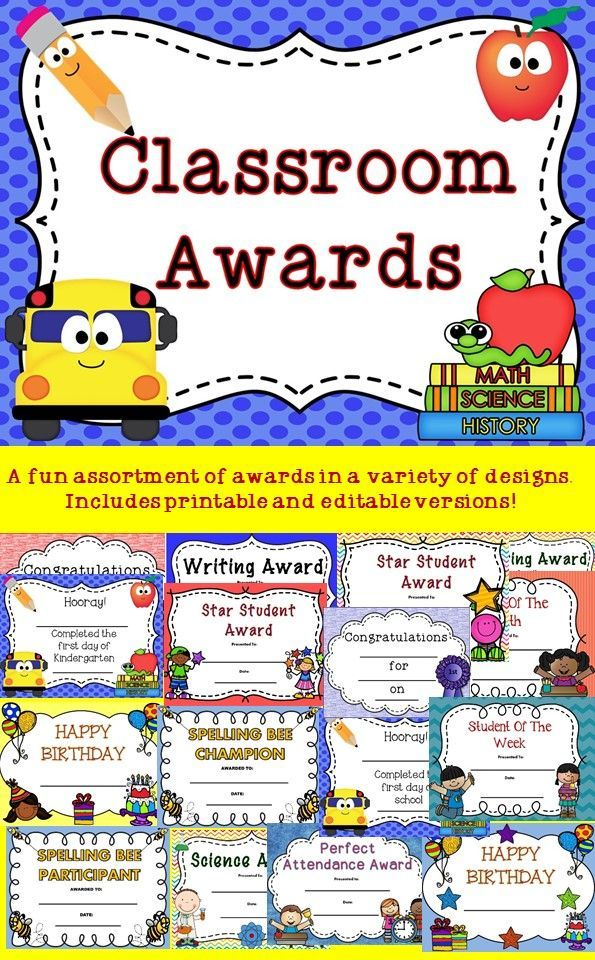 These fun classroom awards include fill in the blank and editable - printable math awards