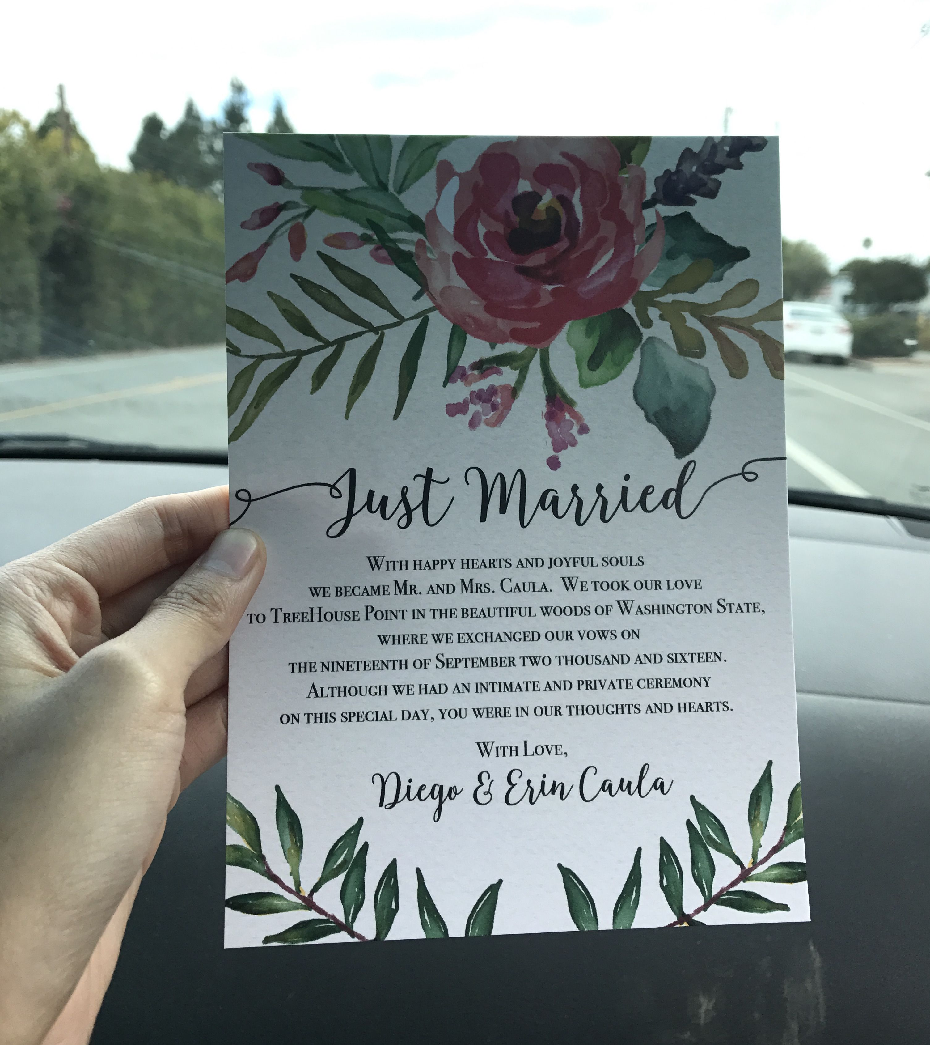 Colorful and creative elopement announcement card idea. This card ...