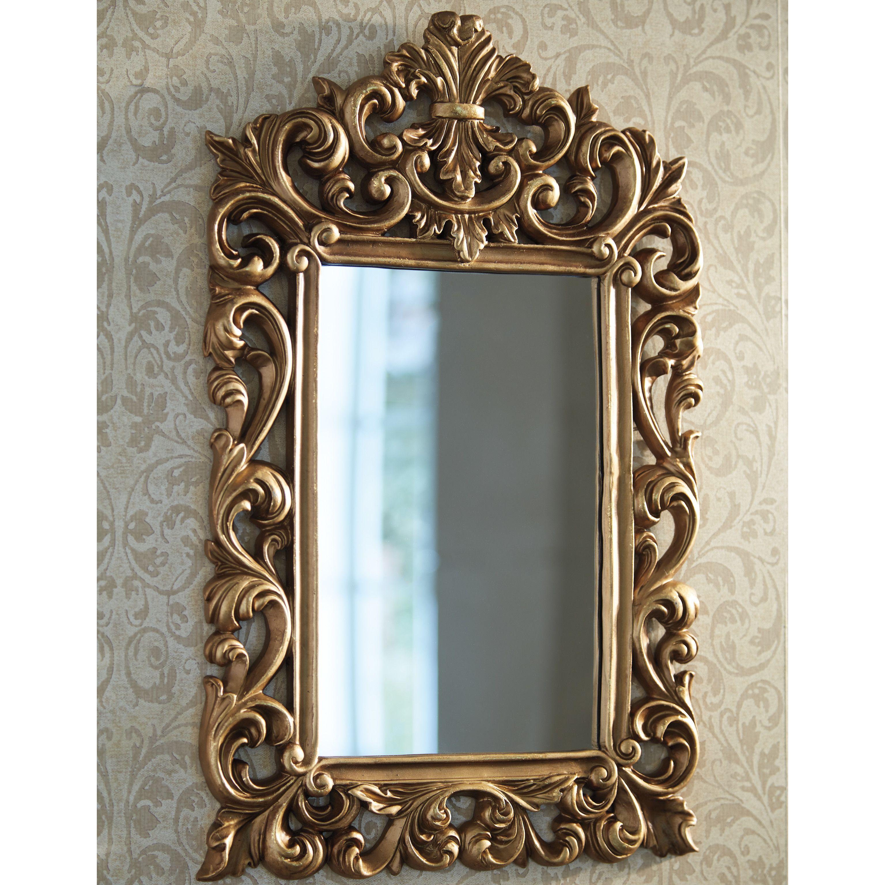 Astoria Grand Antique Gold Wall Mirror Wall Mirrors Entryway Antique Mirror Wall Gold Mirror Wall Antique gold wall mirror