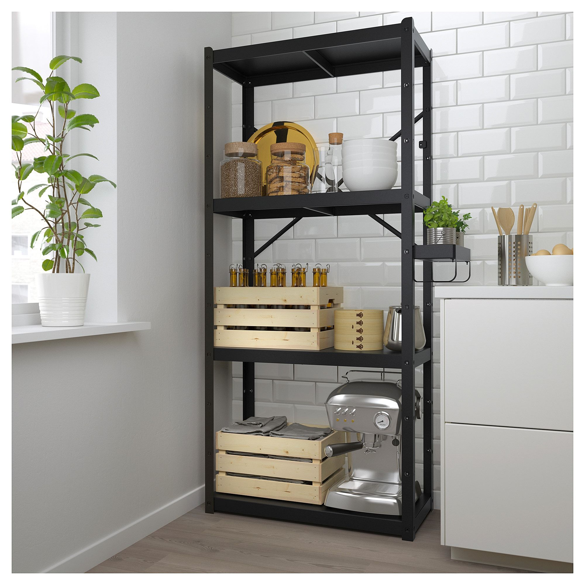 Bror Shelving Unit Black 33 1 2x15 3 4x74 3 4 Shelves