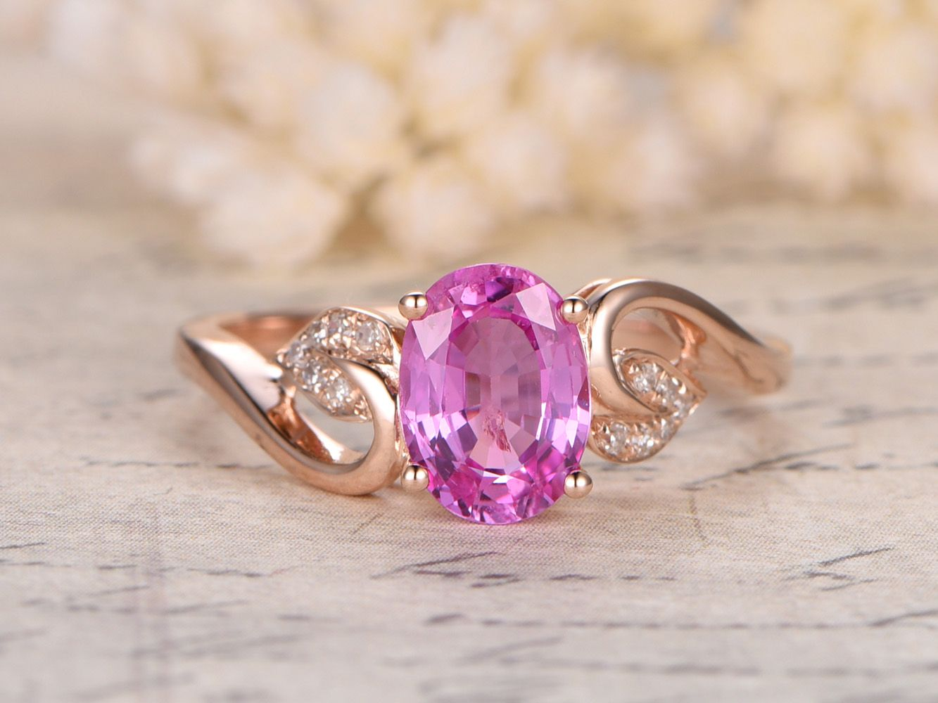 Pink Sapphire Engagement Ring,14K Rose Gold,6x8mm Oval Cut Sapphire ...