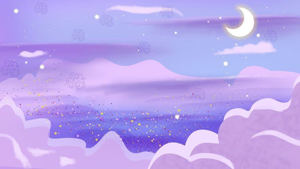 Purple Beautiful Star River Background Design Cute Desktop Wallpaper Desktop Wallpaper Art Kawaii Wallpaper