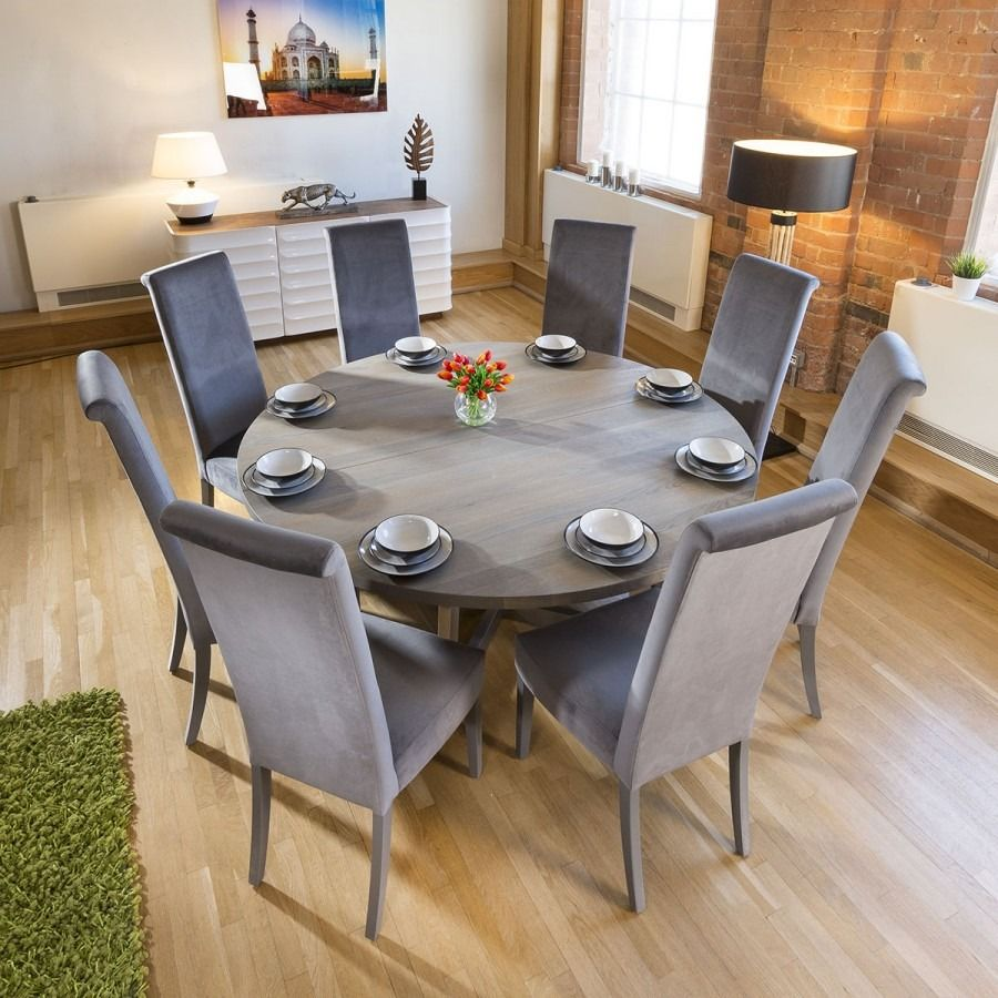 Large Round 1 8 Grey Oak Dining Table 8 Extra High Velvet Grey