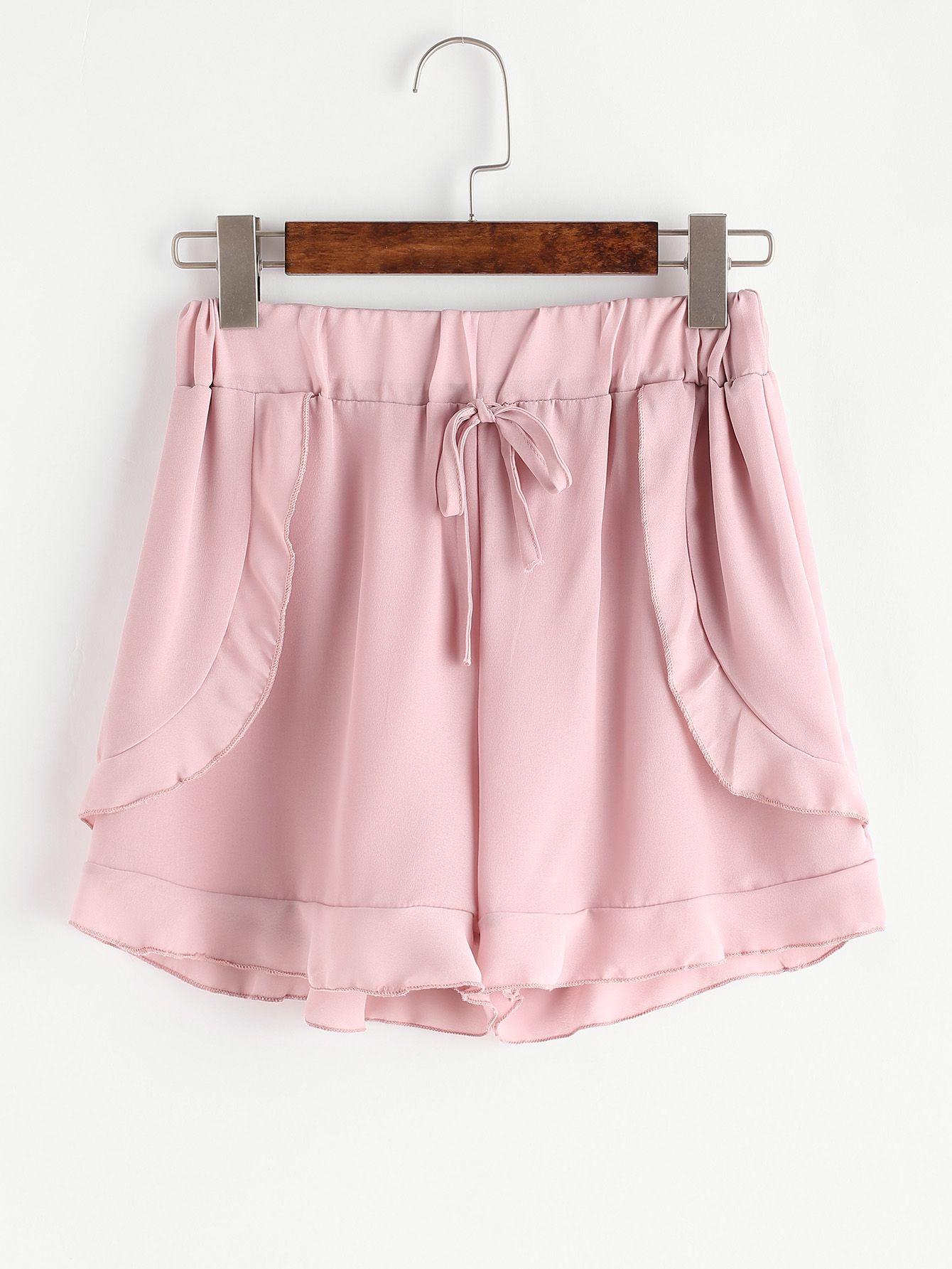 Shop Pink Drawstring Ruffle Trim Chiffon Shorts online. SheIn offers Pink Drawstring Ruffle Trim Chiffon Shorts & more to fit your fashionable needs. #chiffonshorts