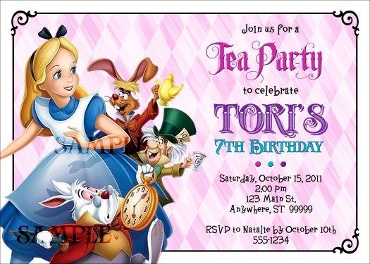 Alice in Wonderland Tea Party Birthday Invitation