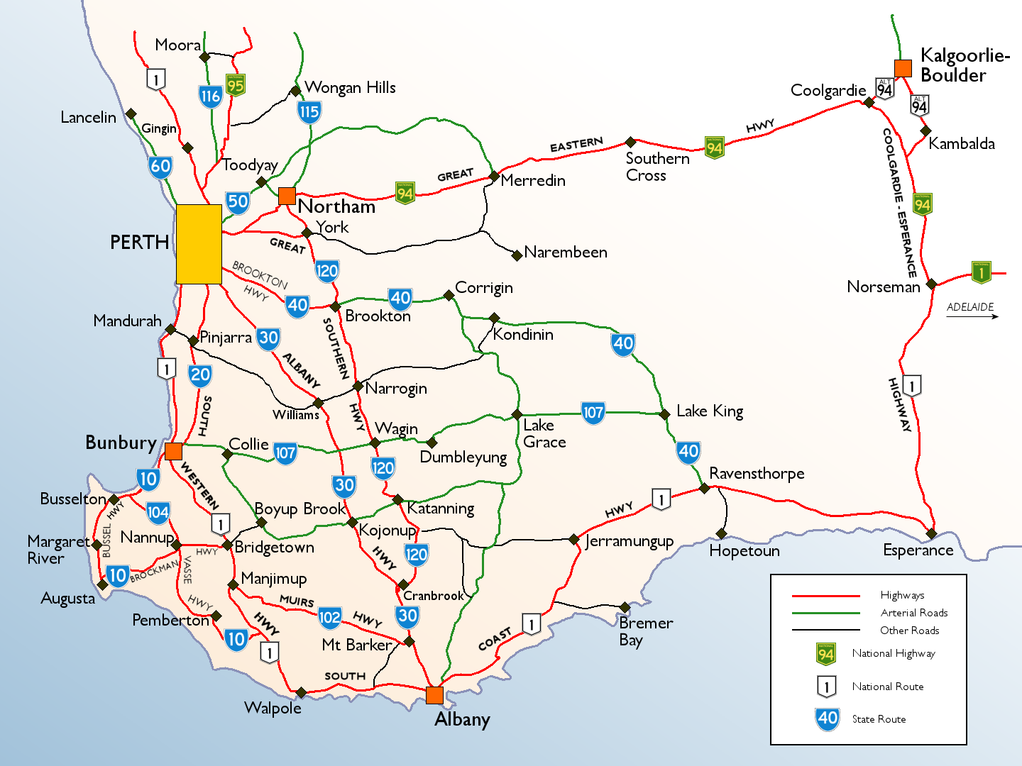 Map Of South Western Australia.South Western Australia Roads Maps Of Australia Australasia