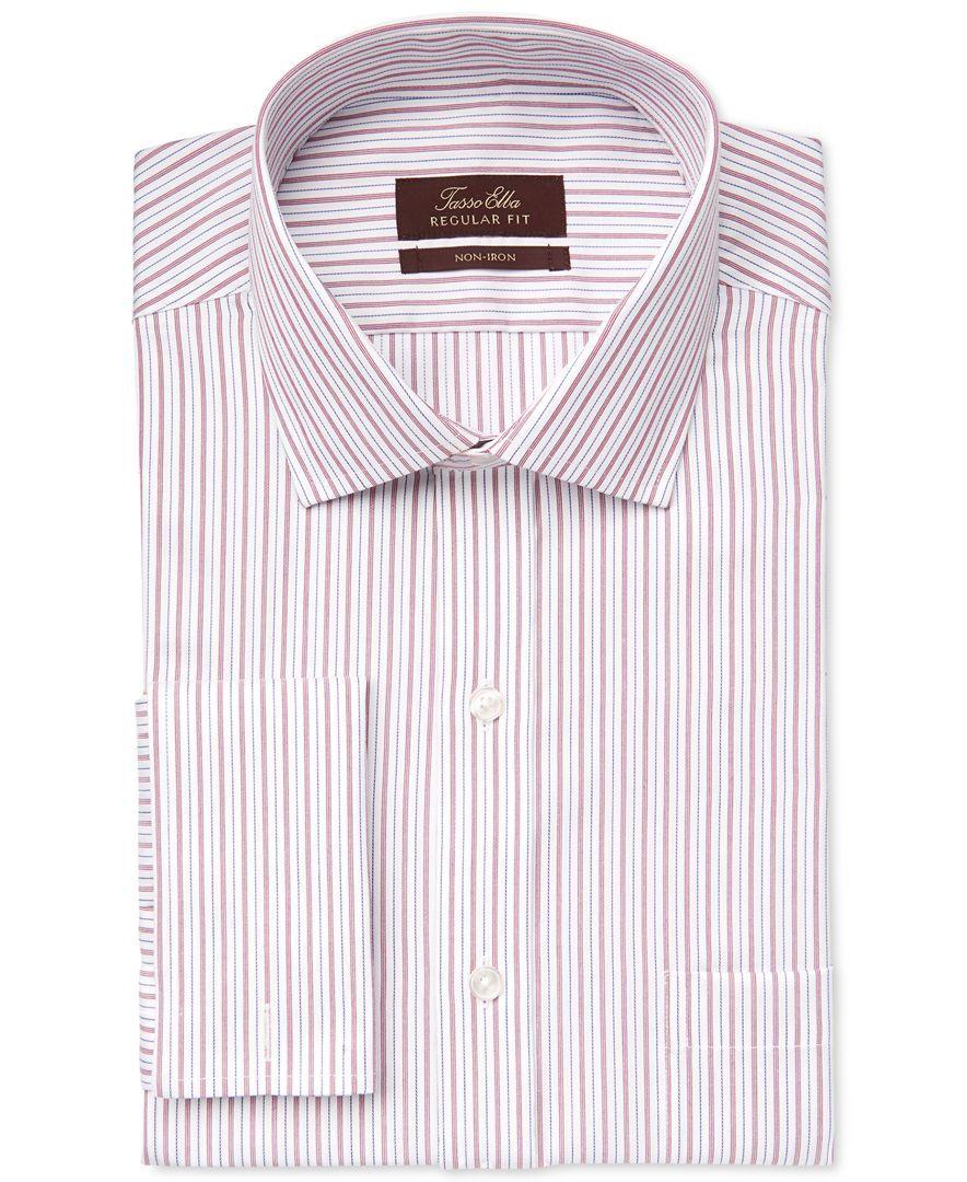 4ee05864e51 Tasso Elba Non-Iron Burgundy Blue Stripe French Cuff Dress Shirt ...