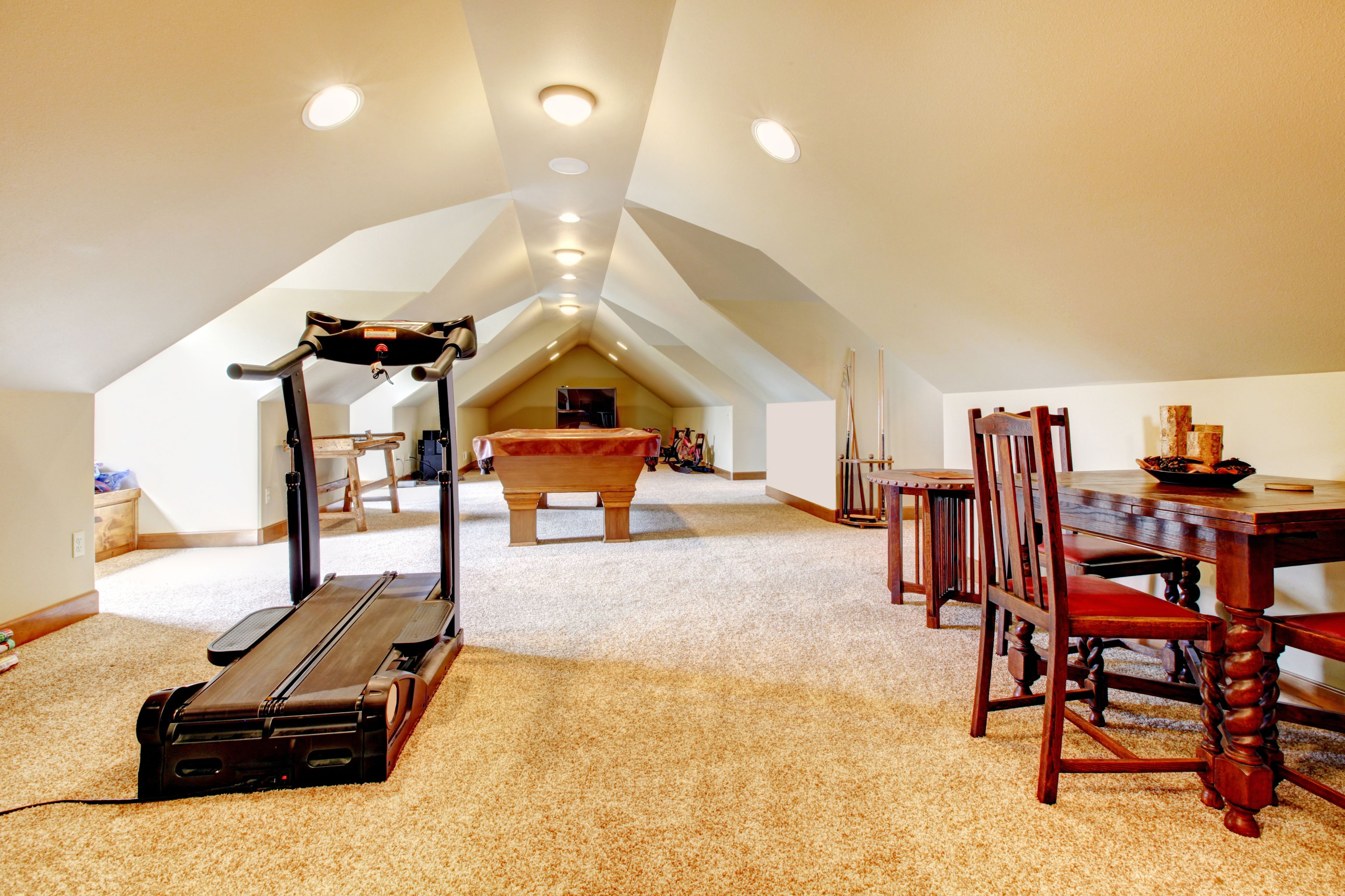 Amazing Attic Entertainment Room Plenty Of Room To Run And The Paint Color Doesn T Dominate S Entertainment Room Entertainment Room Decor Entertaining House