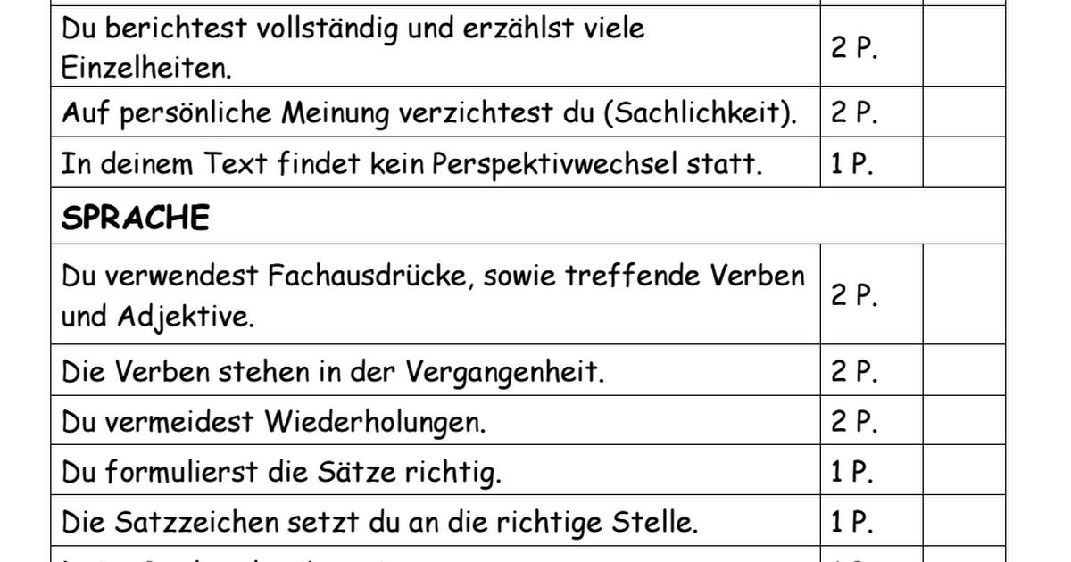 Bewertungsraster Unfallbericht Pdf Unfallbericht Schulprojekte Adjektive